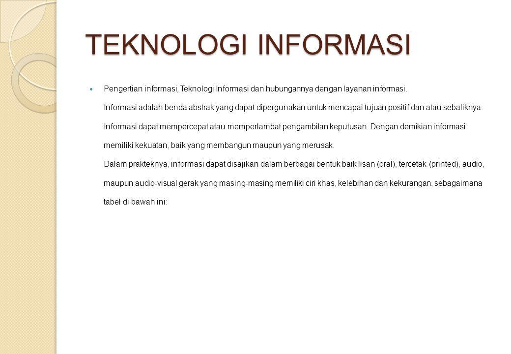 TEKNOLOGI INFORMASI Pengertian informasi, Teknologi Informasi dan hubungannya dengan layanan informasi. Informasi adalah benda abstrak yang dapat dipe