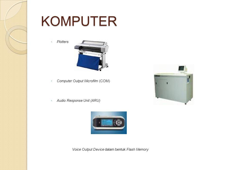 KOMPUTER ◦ Plotters ◦ Computer Output Microfilm (COM) ◦ Audio Response Unit (ARU) Voice Output Device dalam bentuk Flash Memory
