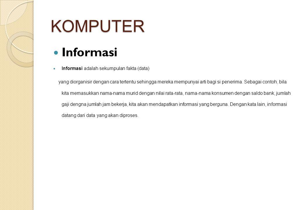 KOMPUTER Informasi Informasi adalah sekumpulan fakta (data) yang diorganisir dengan cara tertentu sehingga mereka mempunyai arti bagi si penerima. Seb