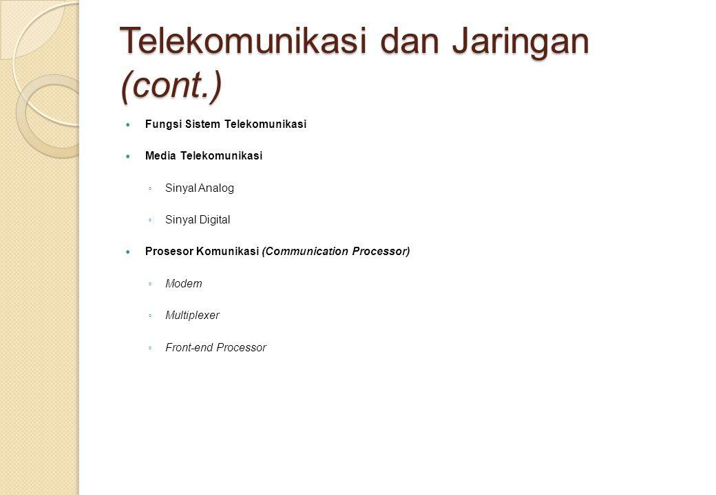 Telekomunikasi dan Jaringan (cont.) Fungsi Sistem Telekomunikasi Media Telekomunikasi ◦ Sinyal Analog ◦ Sinyal Digital Prosesor Komunikasi (Communication Processor) ◦ Modem ◦ Multiplexer ◦ Front-end Processor