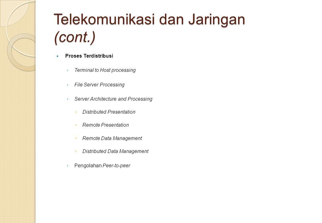 Telekomunikasi dan Jaringan (cont.) Proses Terdistribusi ◦ Terminal to Host processing ◦ File Server Processing ◦ Server Architecture and Processing 