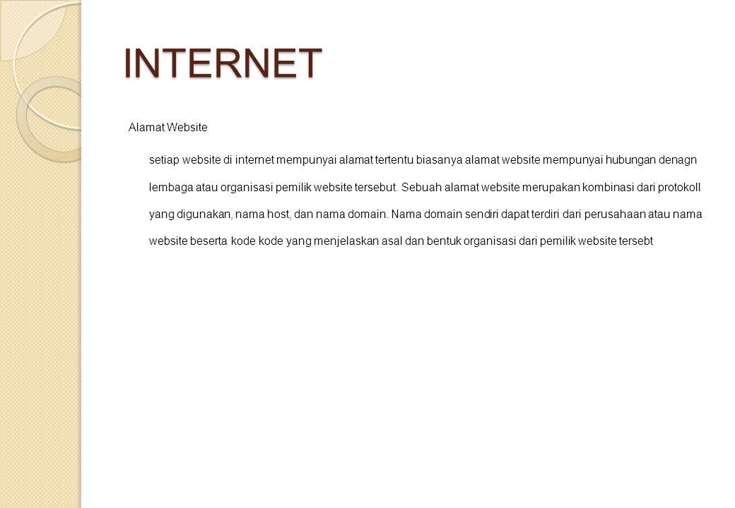 INTERNET Alamat Website setiap website di internet mempunyai alamat tertentu biasanya alamat website mempunyai hubungan denagn lembaga atau organisasi pemilik website tersebut.