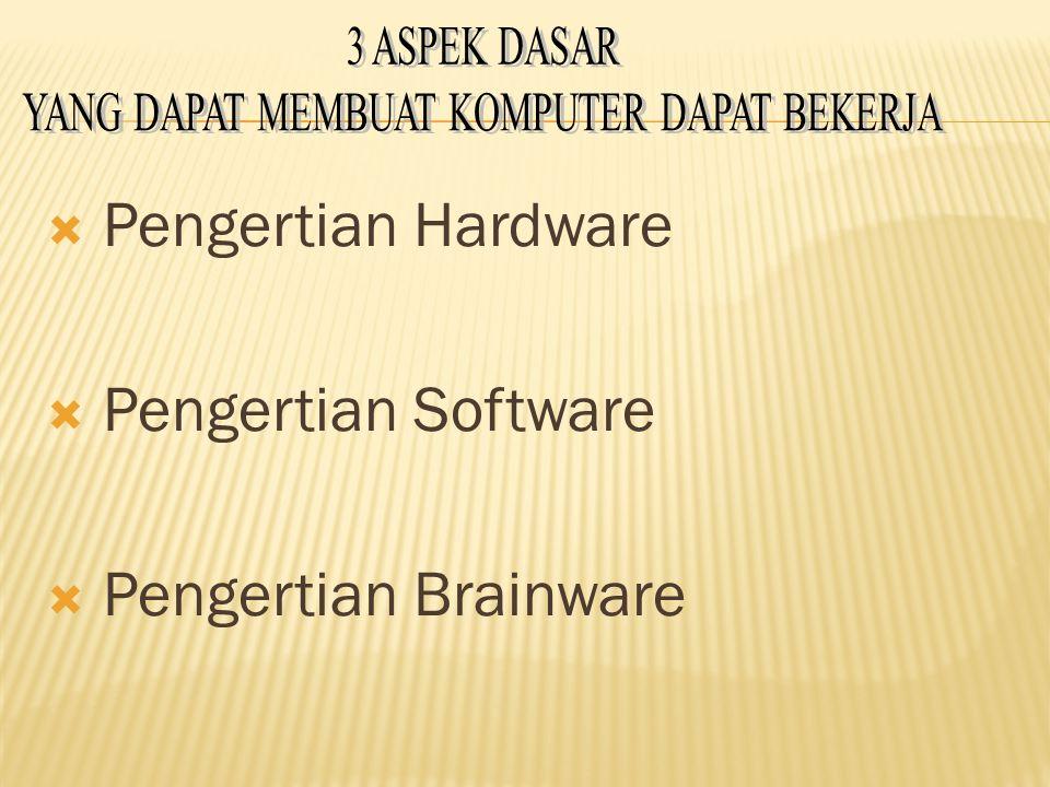  Pengertian Hardware  Pengertian Software  Pengertian Brainware