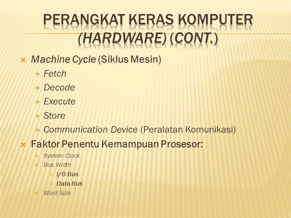  Machine Cycle (Siklus Mesin)  Fetch  Decode  Execute  Store  Communication Device (Peralatan Komunikasi)  Faktor Penentu Kemampuan Prosesor:  System Clock  Bus Width  I/O Bus  Data Bus  Word Size