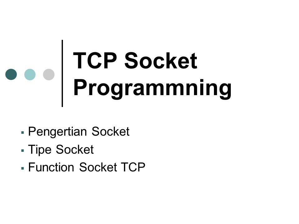 TCP Socket Programmning  Pengertian Socket  Tipe Socket  Function Socket TCP