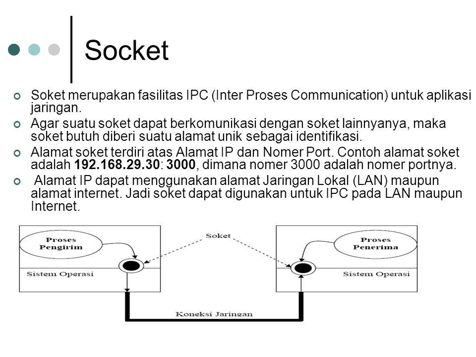 Socket Soket merupakan fasilitas IPC (Inter Proses Communication) untuk aplikasi jaringan. Agar suatu soket dapat berkomunikasi dengan soket lainnyany
