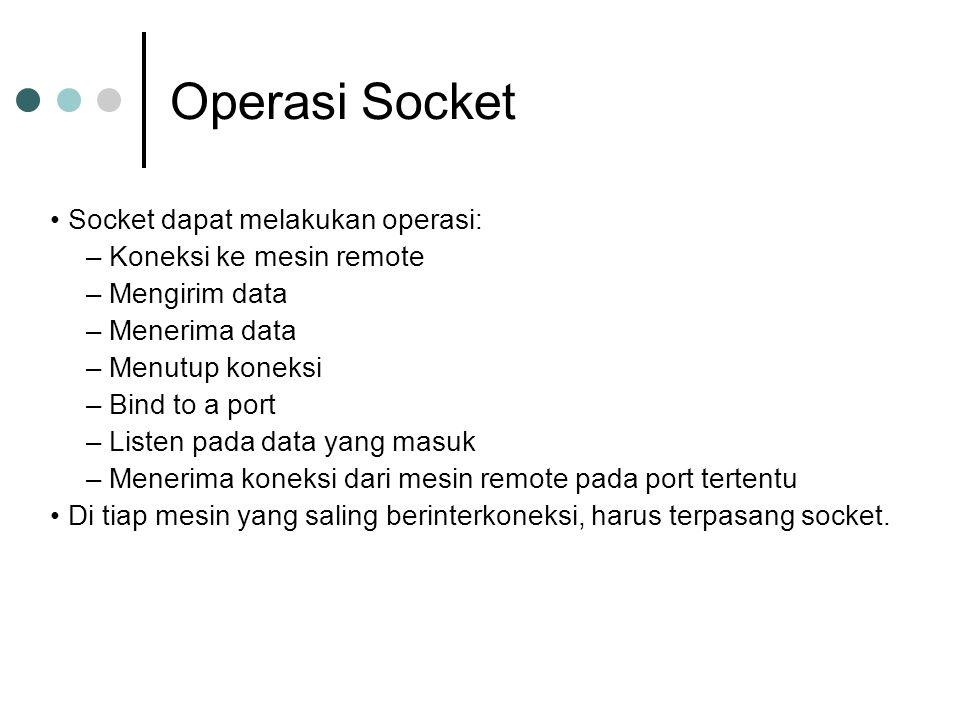 Operasi Socket Socket dapat melakukan operasi: – Koneksi ke mesin remote – Mengirim data – Menerima data – Menutup koneksi – Bind to a port – Listen p