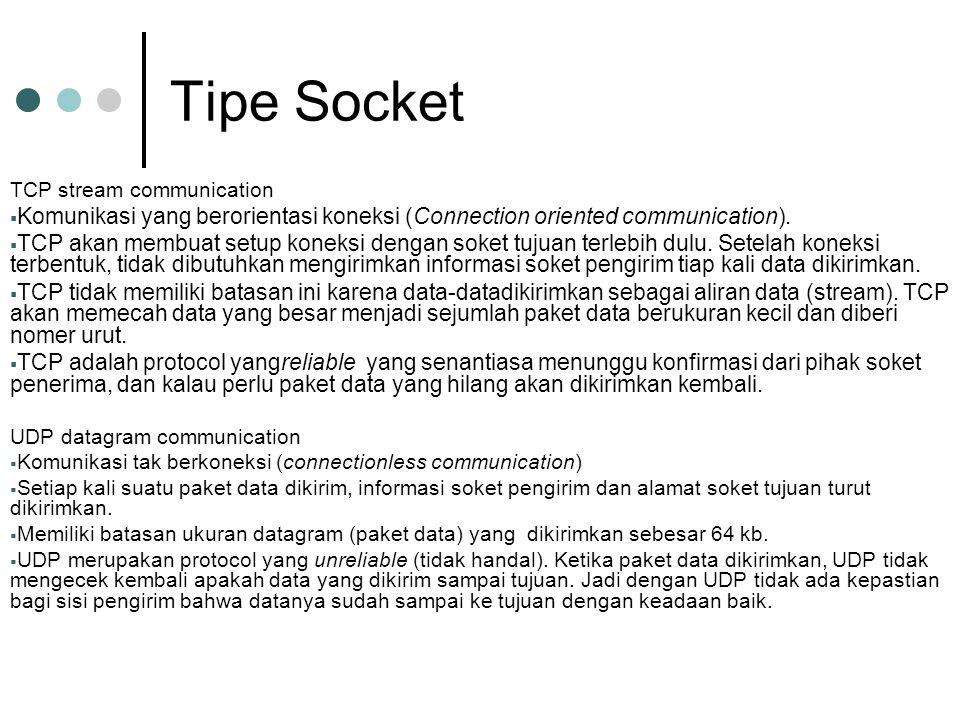 Tipe Socket TCP stream communication  Komunikasi yang berorientasi koneksi (Connection oriented communication).  TCP akan membuat setup koneksi deng