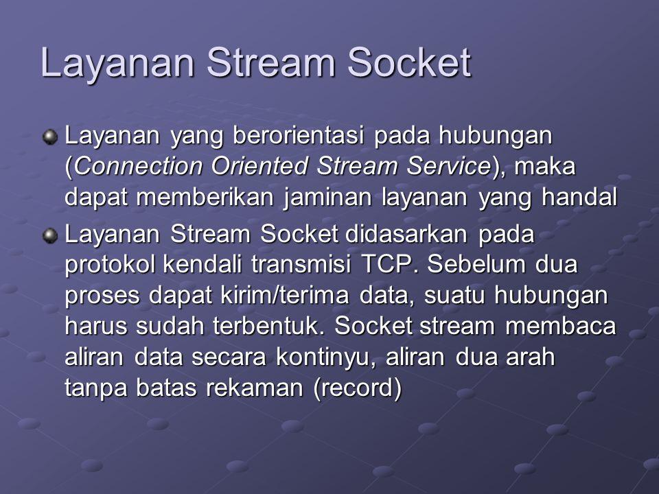 Layanan Stream Socket Layanan yang berorientasi pada hubungan (Connection Oriented Stream Service), maka dapat memberikan jaminan layanan yang handal