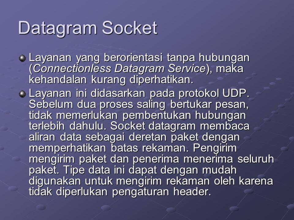 Datagram Socket Layanan yang berorientasi tanpa hubungan (Connectionless Datagram Service), maka kehandalan kurang diperhatikan. Layanan ini didasarka