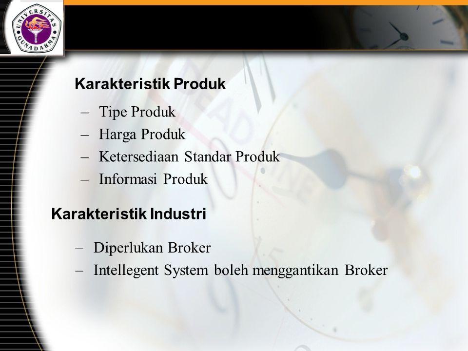Karakteristik Produk –Tipe Produk –Harga Produk –Ketersediaan Standar Produk –Informasi Produk Karakteristik Industri –Diperlukan Broker –Intellegent