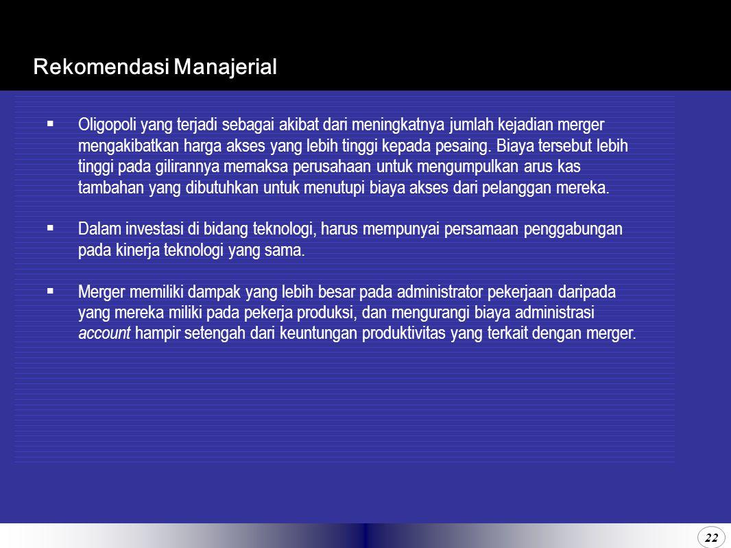 22 Rekomendasi Manajerial  Oligopoli yang terjadi sebagai akibat dari meningkatnya jumlah kejadian merger mengakibatkan harga akses yang lebih tinggi kepada pesaing.