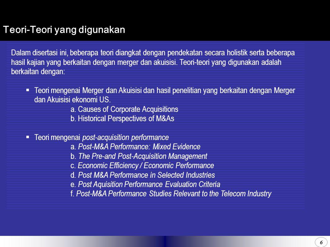 6 Teori-Teori yang digunakan Dalam disertasi ini, beberapa teori diangkat dengan pendekatan secara holistik serta beberapa hasil kajian yang berkaitan dengan merger dan akuisisi.
