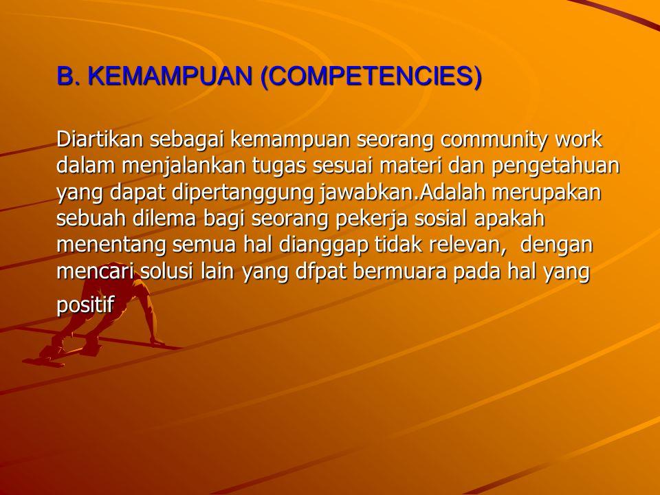 B. KEMAMPUAN (COMPETENCIES) Diartikan sebagai kemampuan seorang community work dalam menjalankan tugas sesuai materi dan pengetahuan yang dapat dipert