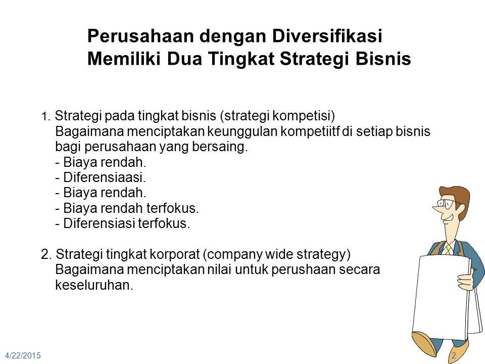 4/22/20152 Perusahaan dengan Diversifikasi Memiliki Dua Tingkat Strategi Bisnis 1. Strategi pada tingkat bisnis (strategi kompetisi) Bagaimana mencipt