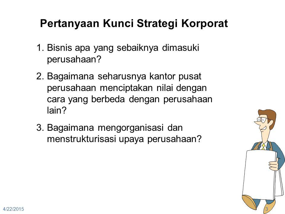 4/22/20153 Pertanyaan Kunci Strategi Korporat 1.Bisnis apa yang sebaiknya dimasuki perusahaan? 2.Bagaimana seharusnya kantor pusat perusahaan mencipta