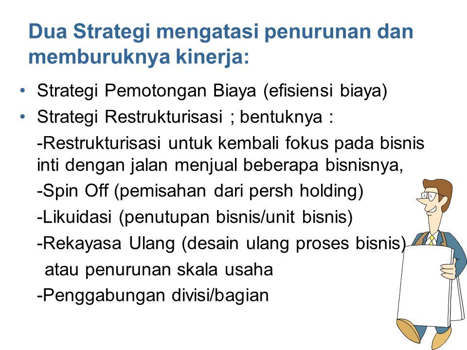 Dua Strategi mengatasi penurunan dan memburuknya kinerja: Strategi Pemotongan Biaya (efisiensi biaya) Strategi Restrukturisasi ; bentuknya : -Restrukt