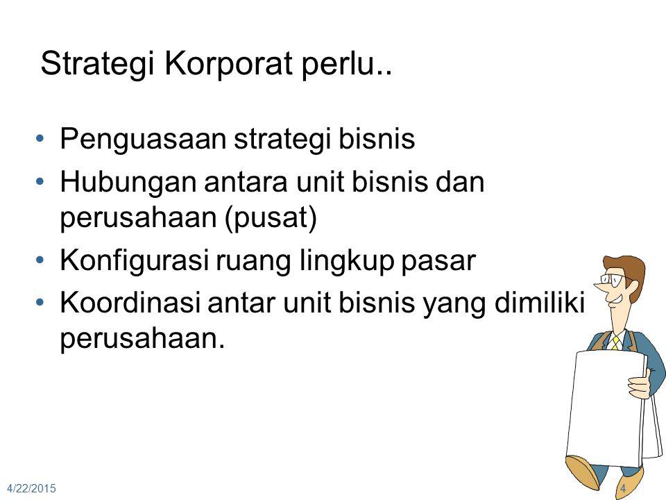 Review : 3 Arah Strategi Korporat Strategi Pertumbuhan (Growth Strategy) bagaimana menggerakkan org ke depan Strategi Stabilitas (Stability Strategy) bagaimana menjaga agar org stabil Strategi Pembaruan (Renewal Strategy) bagaimana membalik kinerja org yang cenderung menurun 4/22/20155