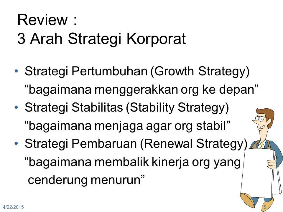 """Review : 3 Arah Strategi Korporat Strategi Pertumbuhan (Growth Strategy) """"bagaimana menggerakkan org ke depan"""" Strategi Stabilitas (Stability Strategy"""
