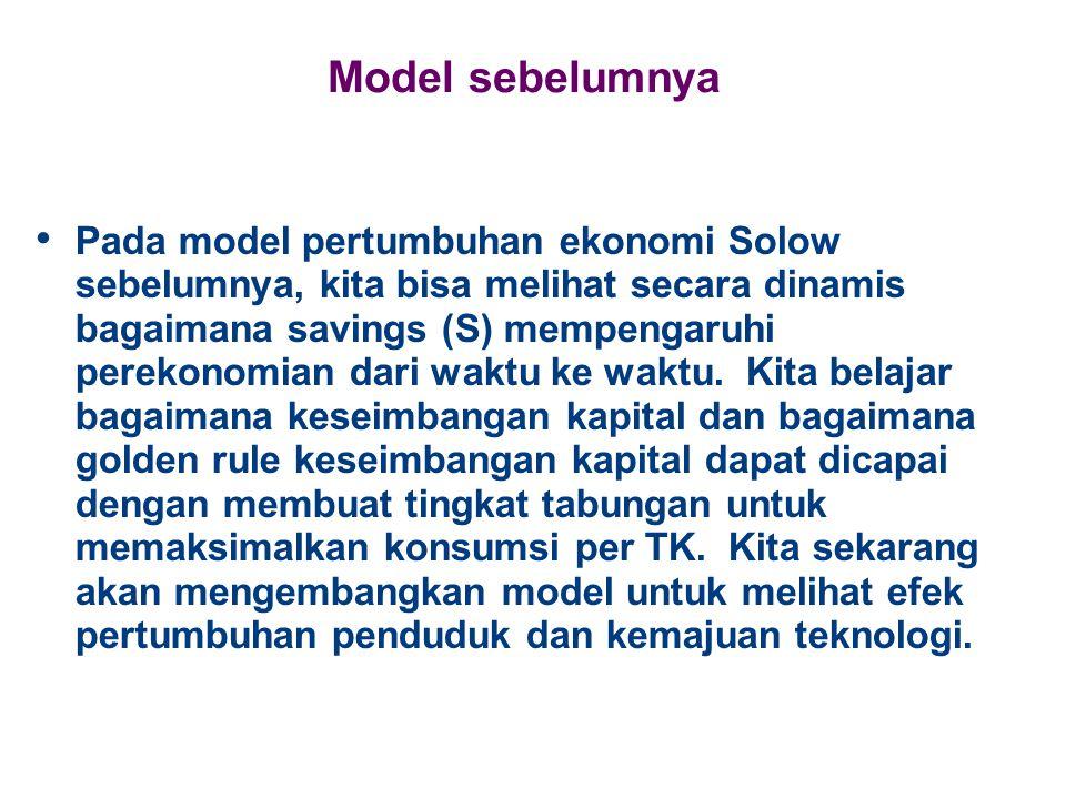 Model sebelumnya Pada model pertumbuhan ekonomi Solow sebelumnya, kita bisa melihat secara dinamis bagaimana savings (S) mempengaruhi perekonomian dar