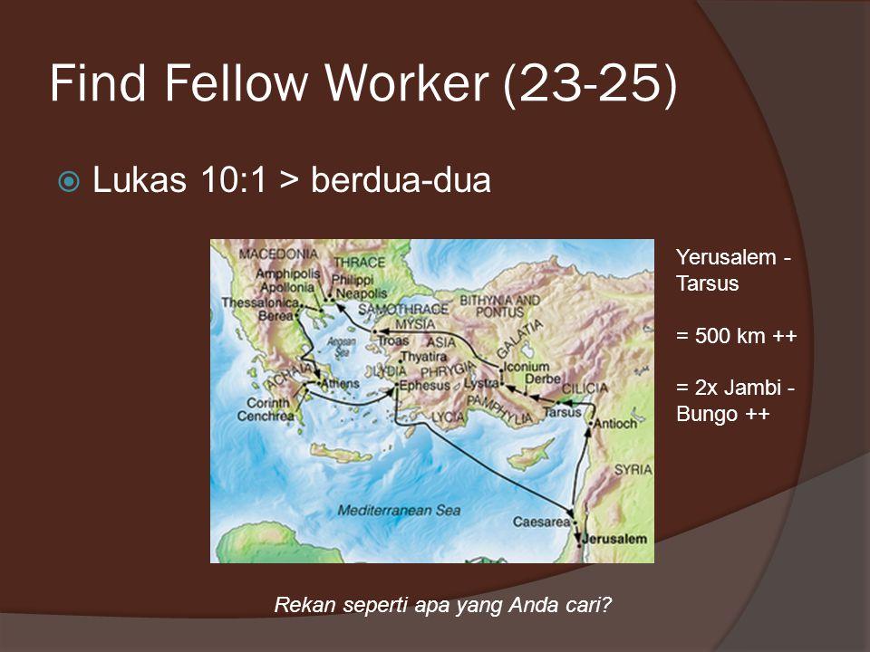 Find Fellow Worker (23-25)  Lukas 10:1 > berdua-dua Yerusalem - Tarsus = 500 km ++ = 2x Jambi - Bungo ++ Rekan seperti apa yang Anda cari?