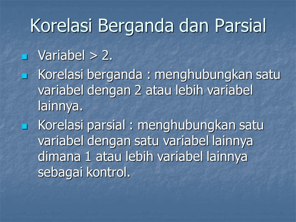 Korelasi Berganda dan Parsial Variabel > 2. Variabel > 2. Korelasi berganda : menghubungkan satu variabel dengan 2 atau lebih variabel lainnya. Korela