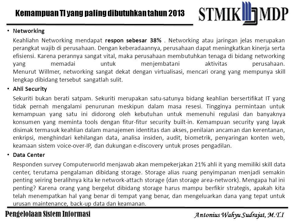 Pengelolaan Sistem Informasi Antonius Wahyu Sudrajat, M.T.I Networking Keahliahn Networking mendapat respon sebesar 38%. Networking atau jaringan jela