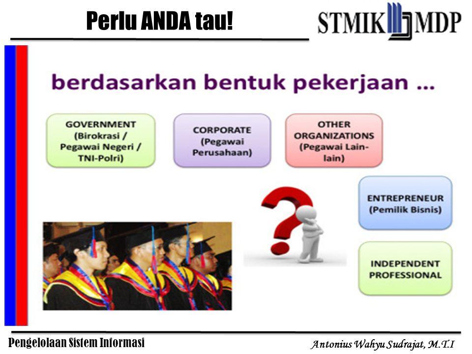 Pengelolaan Sistem Informasi Antonius Wahyu Sudrajat, M.T.I Teori manajemen umum mengatakan bahwa struktur manajemen sebuah perusahaan menyerupai bentuk piramida.
