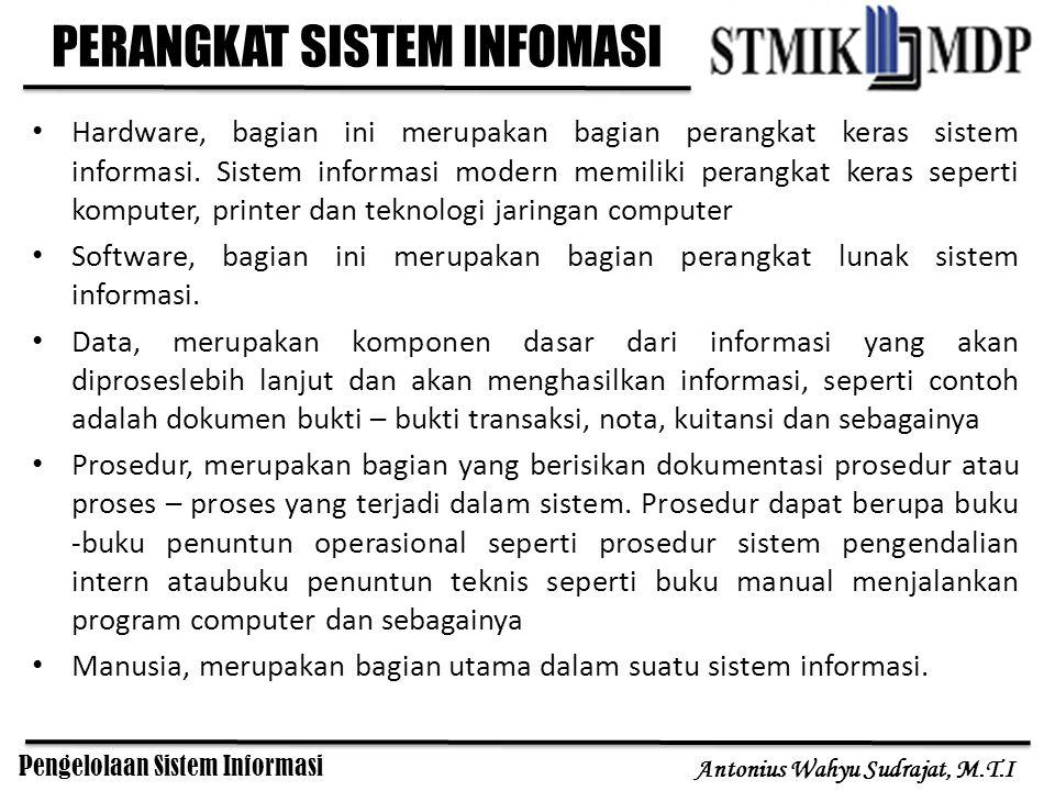 Pengelolaan Sistem Informasi Antonius Wahyu Sudrajat, M.T.I PERANGKAT SISTEM INFOMASI Hardware, bagian ini merupakan bagian perangkat keras sistem inf