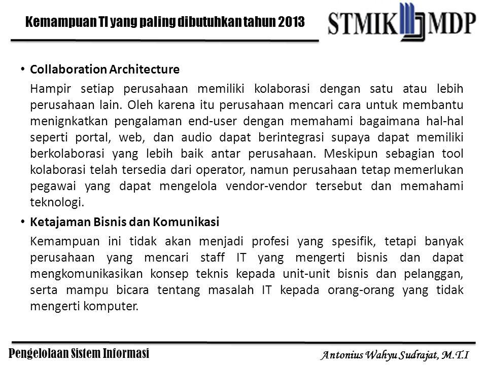 Pengelolaan Sistem Informasi Antonius Wahyu Sudrajat, M.T.I Kemampuan TI yang paling dibutuhkan tahun 2013 Collaboration Architecture Hampir setiap pe