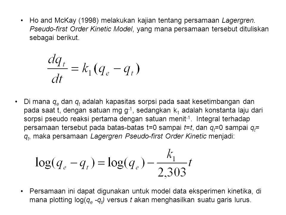 Ho and McKay (1998) melakukan kajian tentang persamaan Lagergren. Pseudo-first Order Kinetic Model, yang mana persamaan tersebut dituliskan sebagai be