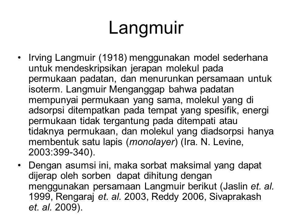 Langmuir Irving Langmuir (1918) menggunakan model sederhana untuk mendeskripsikan jerapan molekul pada permukaan padatan, dan menurunkan persamaan unt