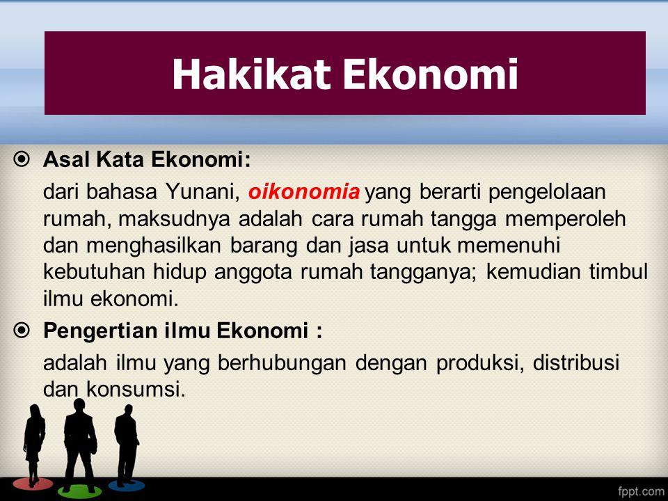  Asal Kata Ekonomi: dari bahasa Yunani, oikonomia yang berarti pengelolaan rumah, maksudnya adalah cara rumah tangga memperoleh dan menghasilkan bara
