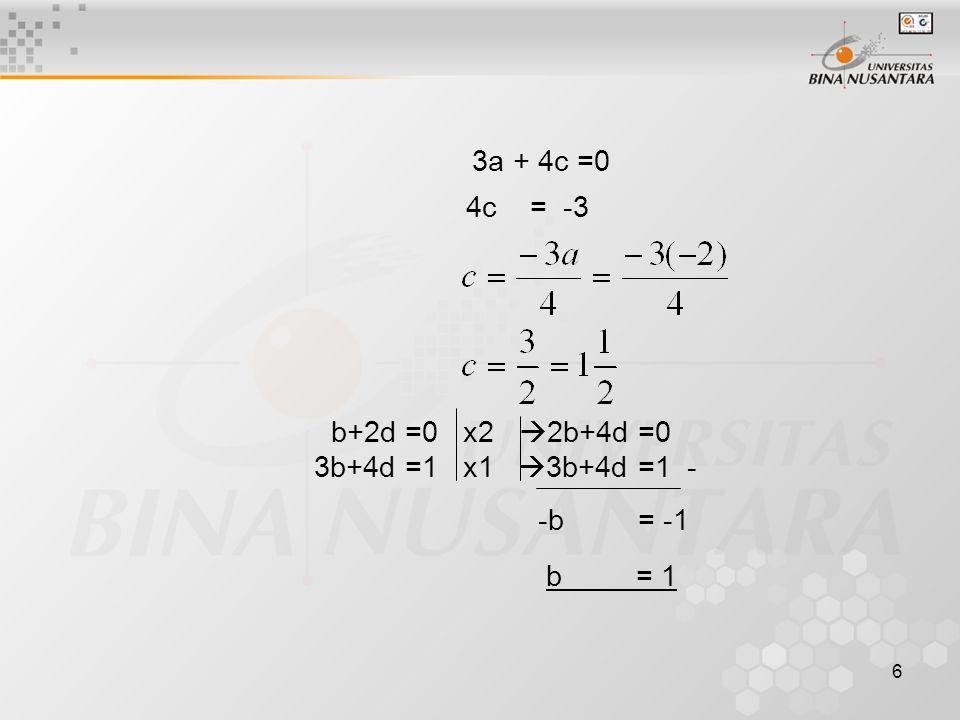 6 3a + 4c =0 4c = -3 b+2d =0 x2  2b+4d =0 3b+4d =1 x1  3b+4d =1 - -b = -1 b = 1