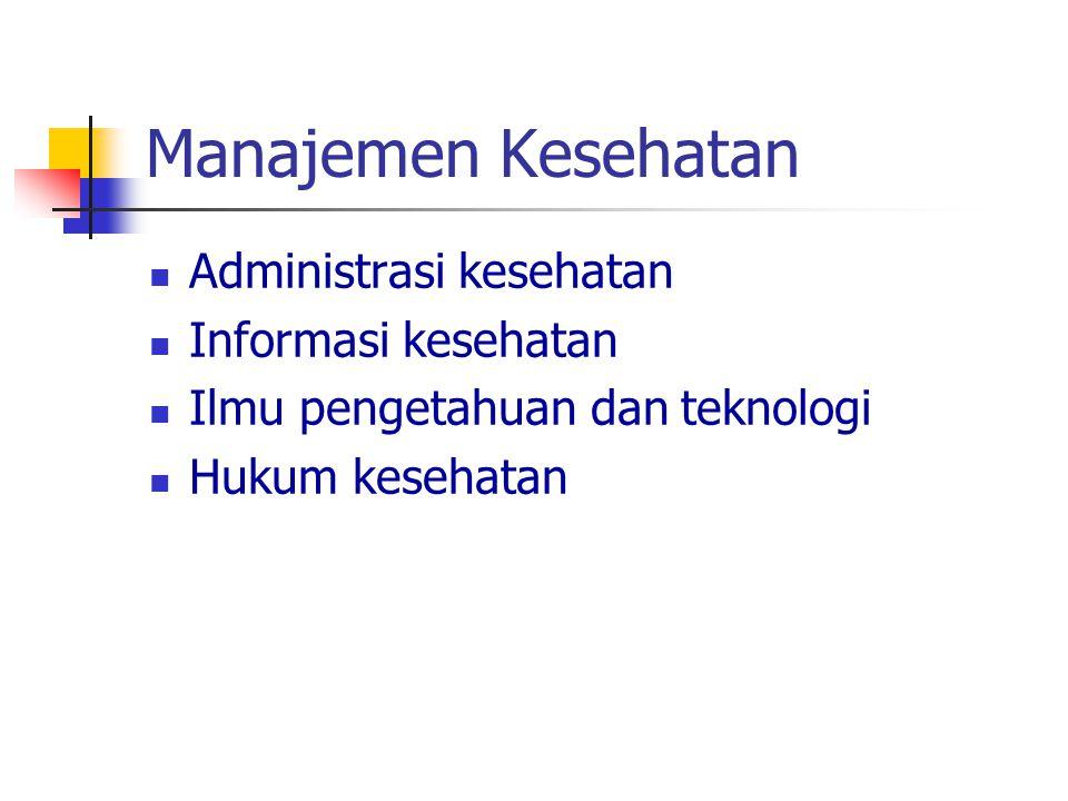 Manajemen Kesehatan Administrasi kesehatan Informasi kesehatan Ilmu pengetahuan dan teknologi Hukum kesehatan