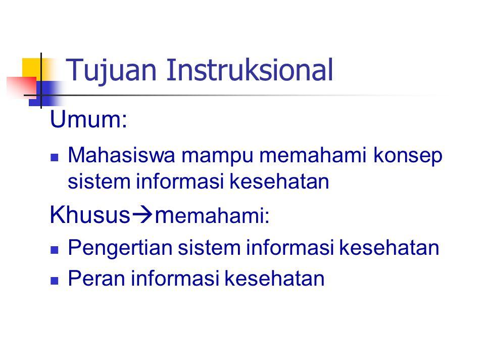 Tujuan Instruksional Umum: Mahasiswa mampu memahami konsep sistem informasi kesehatan Khusus  m emahami: Pengertian sistem informasi kesehatan Peran