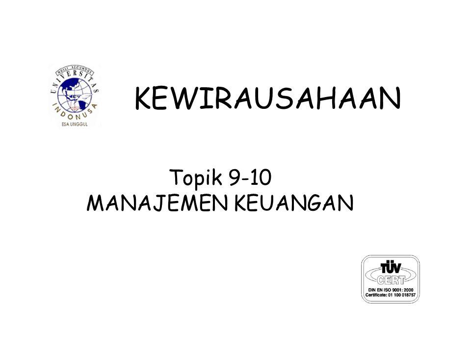 KEWIRAUSAHAAN Topik 9-10 MANAJEMEN KEUANGAN