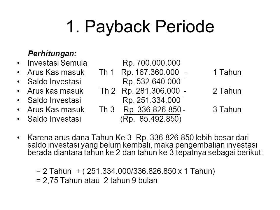 1. Payback Periode Payback period adalah suatu periode yang diperlukan untuk menutup kembali pengeluaran investasi. Contoh: Th 0.Pengeluaran Investasi