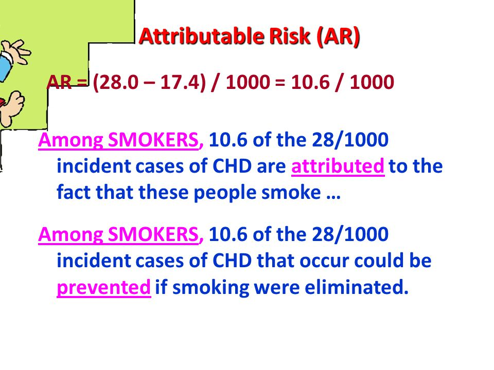 Attributable Risk (AR) AR = (28.0 – 17.4) / 1000 = 10.6 / 1000 Among SMOKERS, 10.6 of the 28/1000 incident cases of CHD are attributed to the fact tha