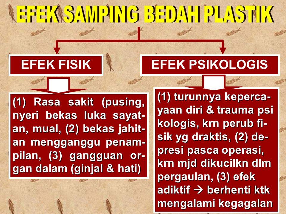 EFEK FISIKEFEK PSIKOLOGIS (1) Rasa sakit (pusing, nyeri bekas luka sayat- an, mual, (2) bekas jahit- an mengganggu penam- pilan, (3) gangguan or- gan