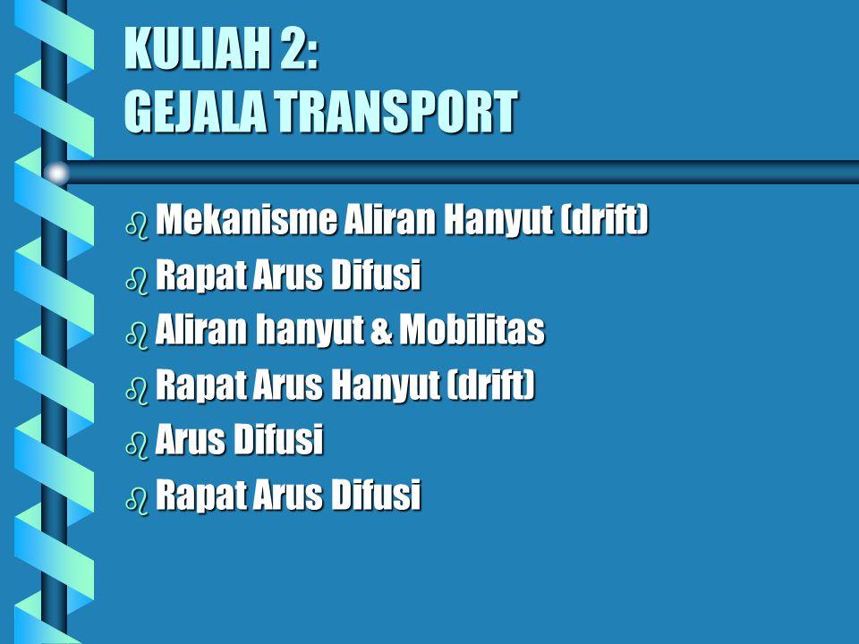 KULIAH 2: GEJALA TRANSPORT b Mekanisme Aliran Hanyut (drift) b Rapat Arus Difusi b Aliran hanyut & Mobilitas b Rapat Arus Hanyut (drift) b Arus Difusi