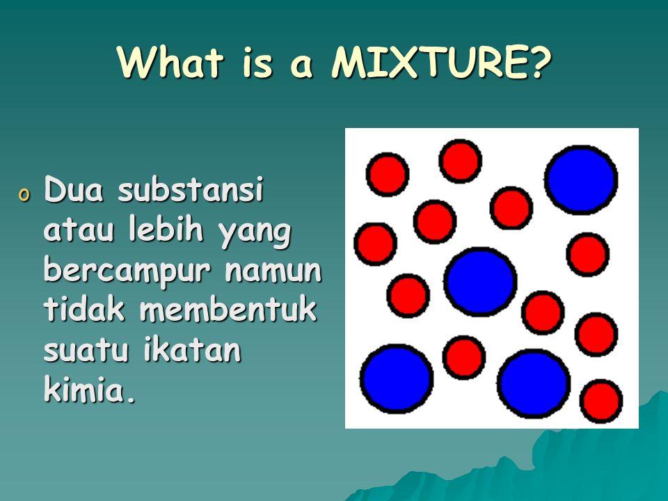 What is a COMPOUND? o Suatu substansi yang terdiri dari dua atau lebih unsur yang berbeda dengan membentuk suatu ikatan kimia yang digunakan secara be