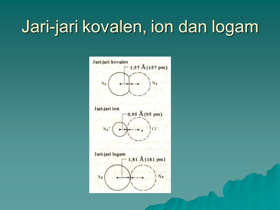 Faktor-faktor yang mempengaruhi Jari-jari Atom  Keragaman ukuran atom dalam satu golongan pada tabel berkala. Semakin banyak kulit elektron dalam sua