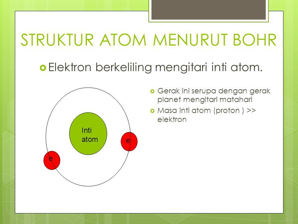 STRUKTUR ATOM MENURUT BOHR  Elektron berkeliling mengitari inti atom.  Gerak ini serupa dengan gerak planet mengitari matahari  Masa inti atom (pro