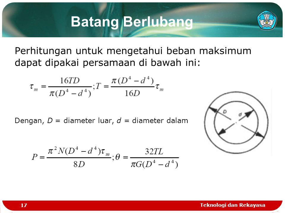 Teknologi dan Rekayasa 17 Batang Berlubang Perhitungan untuk mengetahui beban maksimum dapat dipakai persamaan di bawah ini: Dengan, D = diameter luar