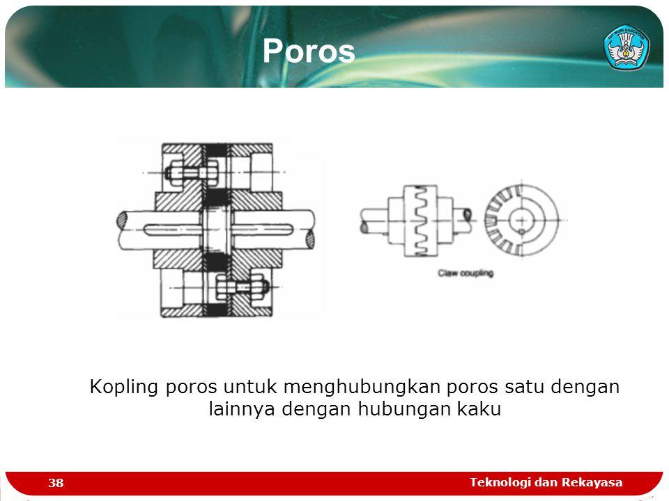 Teknologi dan Rekayasa 38 Kopling poros untuk menghubungkan poros satu dengan lainnya dengan hubungan kaku Poros