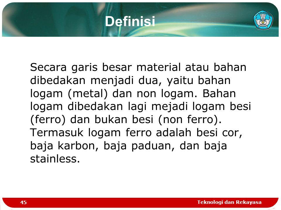 Teknologi dan Rekayasa 45 Secara garis besar material atau bahan dibedakan menjadi dua, yaitu bahan logam (metal) dan non logam. Bahan logam dibedakan