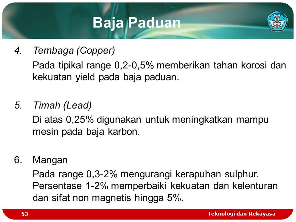 Teknologi dan Rekayasa 53 Baja Paduan 4. Tembaga (Copper) Pada tipikal range 0,2-0,5% memberikan tahan korosi dan kekuatan yield pada baja paduan. 5.