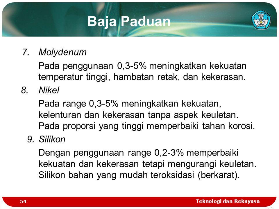Teknologi dan Rekayasa 54 Baja Paduan 7.Molydenum Pada penggunaan 0,3-5% meningkatkan kekuatan temperatur tinggi, hambatan retak, dan kekerasan. 8.Nik