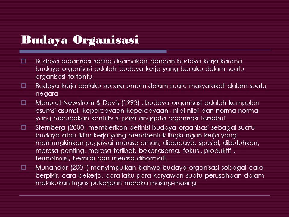 Budaya Organisasi  Budaya organisasi sering disamakan dengan budaya kerja karena budaya organisasi adalah budaya kerja yang berlaku dalam suatu organ